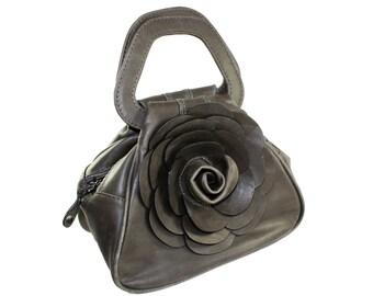 GREY Leather Flower Handbag, Small Leather Purse, Floral Purse, Flower Bag, Leather Flower