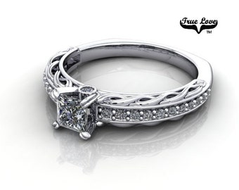 14 kt. White Gold  Solitaire .37 Carat Princess Brilliant Cut Moissanite with side And Accent Diamonds Engagement Ring #6784