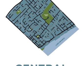 Burlington, Ontario Neighbourhood Map Print: Central Burlington