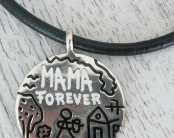 Silver Mama Forever necklace