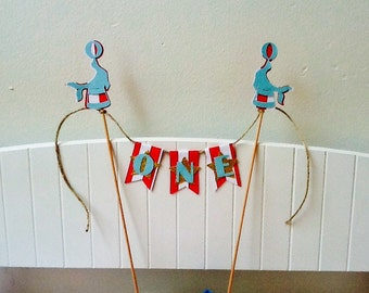 Circus First Birthday Cake Topper