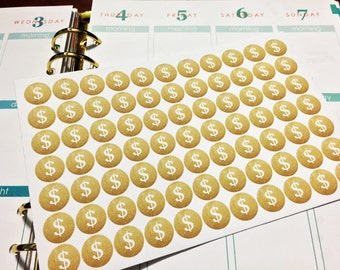 77 Gold Money Sign Stickers with option to CUSTOMIZE for Erin Condren Life Planner, Plum Paper Planner, Filoflax, calendar or scrapbook!