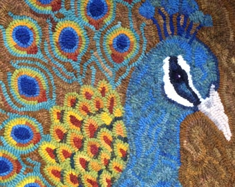 This original rug hooking pattern called peacock, is ideal for a wall hanging. A folk Art piece suitable for home or office.