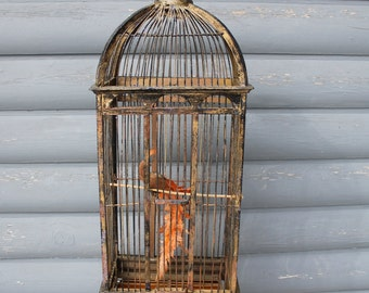 Bronzy Colored Tall Funky Bird Cage Hand Crafted