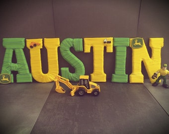 John Deere Decor, Name Letters, John Deere Theme, John Deere Baby Shower, Tractor Theme, Gifts for Kids, Farm Nursery, Tightly Wound Designs