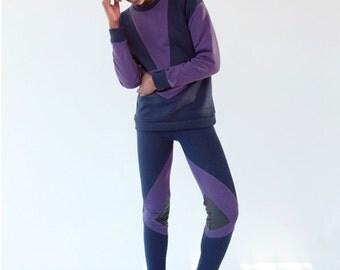 purple sweater / oversized  sweater / navy sweater / cotton sweatshirt / women sweater / color block sweater