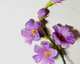 campanula flower hairpin, hair pin, pins, hairpins, girl hair accessories, flowers for hair
