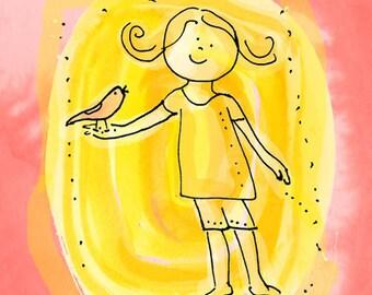 "Girl and bird 5x7"", nursery wall art"