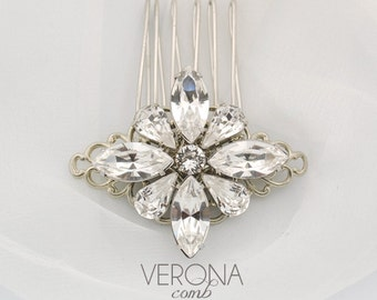 Crystal hair comb - rhinestone wedding comb - Swarovski crystal - wedding hair brooch - rhinestone hair accessory - Verona comb