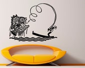 Fishing Rod Wall Decal Vinyl Stickers Fish Hook Art Design Interior Fishing Murals (34fis3r)