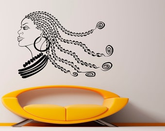 African Girl Wall Decal Africa Vinyl Decal Sticker Murals Interior Decor (4afg9)