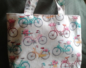 Bicycle Peddle Me Tote Bag Purse with Pockets