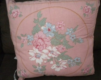 Vintage Pink flower design cotton fabric 41cm x 41cm cushion cover.  Front and back feature the same design.  One only.  Cover only