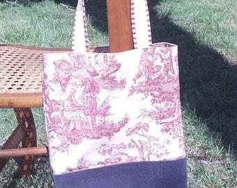 Toile bag, Red toile Bag, bag, tote, pocketbook, Red toile Tote, toile tote, red toile tote, red navy tote bag, tote bag, red toile tote bag