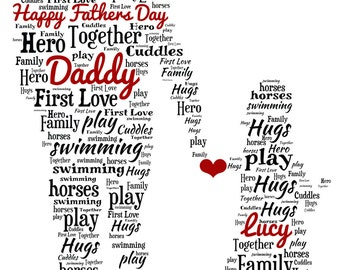 Personalised Word Art - Fathers Day Dad & Daughter Design A4 Print
