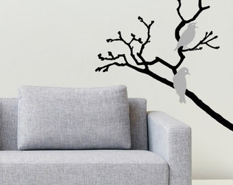Wall decal Birds on a branch, Birds wall sticker, Branch wall sticker, Vinyl wall sticker, Wall stencil, Wall decoration