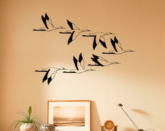 Wild Flying Birds Wall Decal Flock Of Birds Decals Vinyl Stickers Animals Interior Design Art Murals Housewares Bedroom Wall Decor (7b01s)