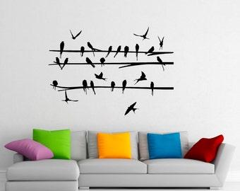 Birds on Branch Wall Decal Flock Of Birds Decals Vinyl Stickers Animals Interior Design Art Murals Housewares Bedroom Wall Decor (20b01s)