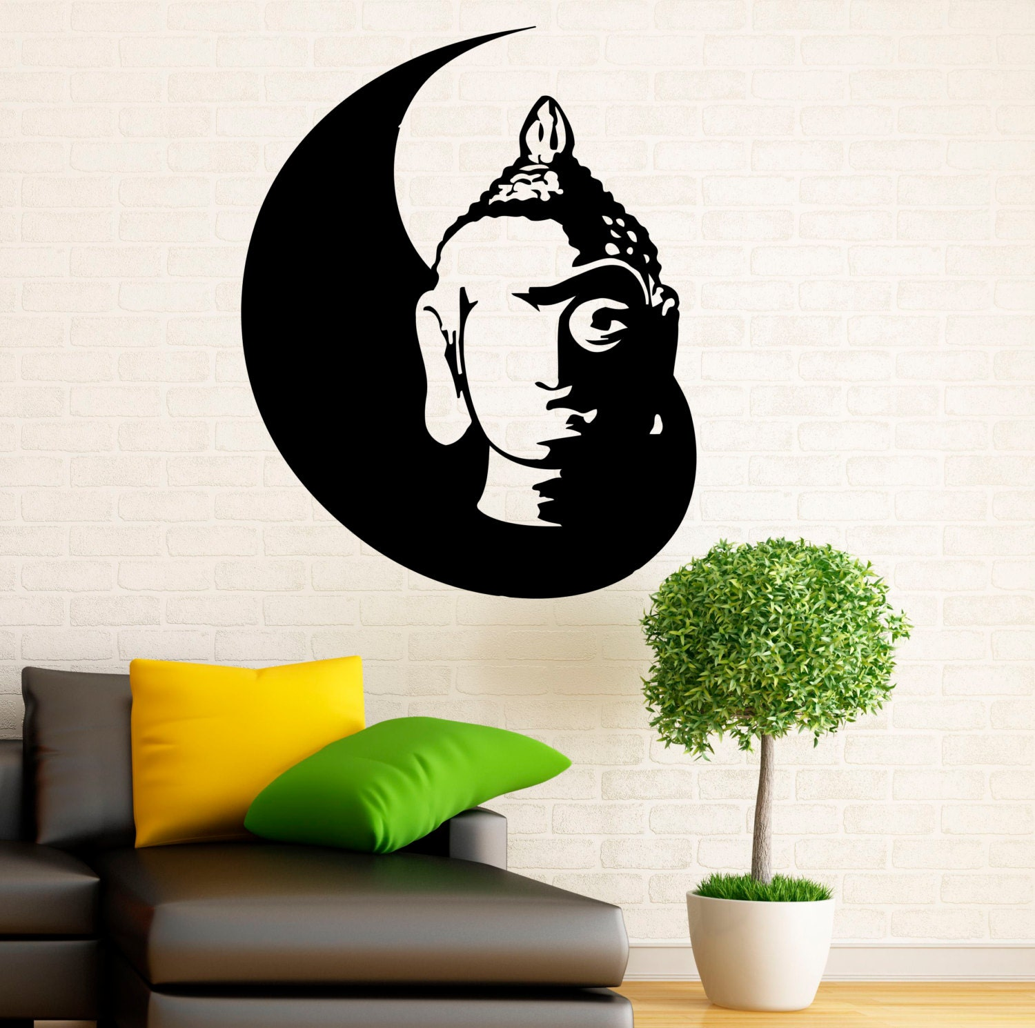 buddha wall decal indian design lotus flower vinyl stickers