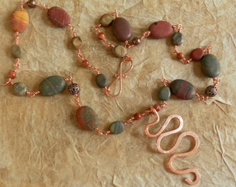 Copper and Red Creek Jasper Necklace with Spiral Pendant