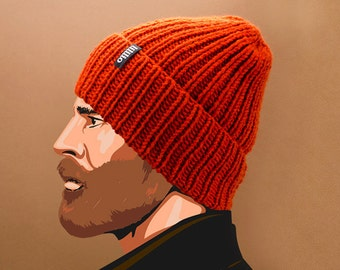 Mens knit hats - Knit hats for men from Italian wool yarn. 100 color options!