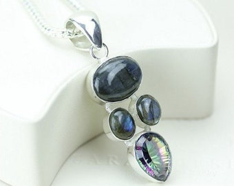 Canadian Blue FIre LABRADORITE MYSTIC TOPAZ 925 Solid Sterling Silver Pendant + Free Worldwide Shipping P1908