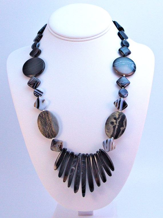 Elegant statement necklace of sardonyx, jasper, and sterling silver with Egyptian collar effect