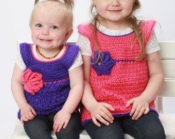 Made to Order: handmade crochet Toddler girls tunic with flower