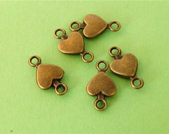 10 pcs of Antique Bronze Antique Bronze Heart Charms 8mm x 14mm
