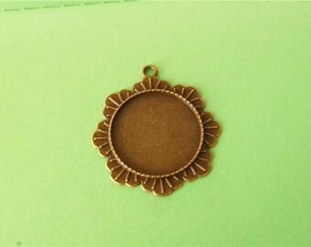 5 pcs of Antique Bronze  Leather pendant Charms 43mm x 47mm
