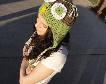 Crocheted Owl Hat - Adult and Teen Sizes