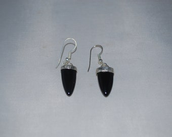 Silver with black onyx earrings.