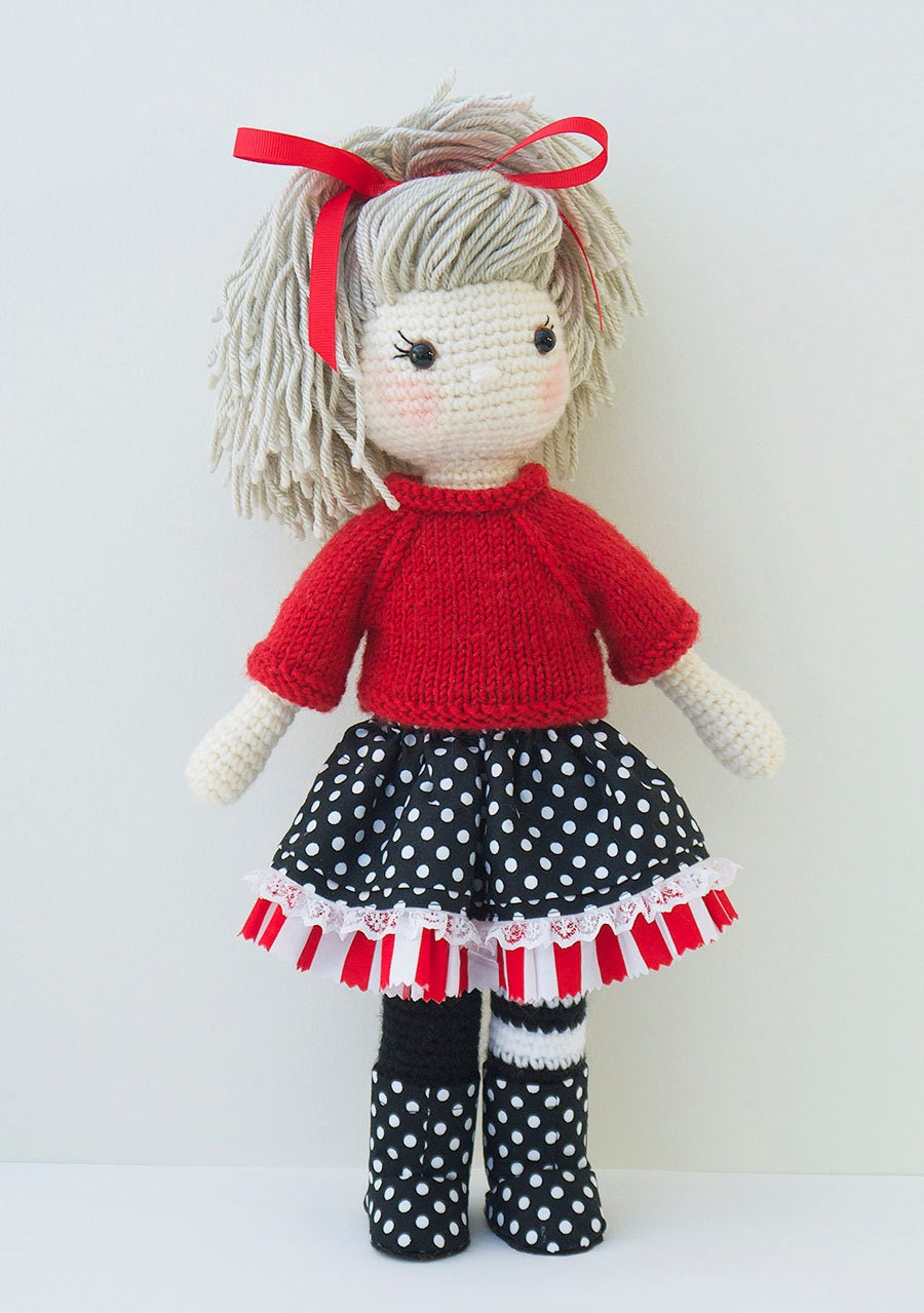Amigurumi Ugly Doll : Amigurumi crochet doll Gorgeous girl doll with red sweater