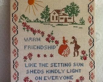 Antique Cross Stitch / Needlepoint Wall Hanging