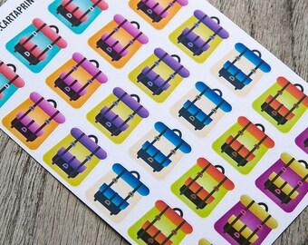 Camping sticker, backpack sticker, hiking sticker, back to school planner stickers, voyage travel sticker eclp filofax happy planner kikkik
