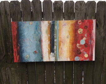 "Red Cherry and Blue Abstract Painting - 48"" x 24"""