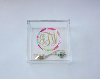 Monogrammed Lilly Pulitzer Inspired Acrylic Jewelry Box - Personalized - Dorm Sorority Decor - Organizer Vanity Dresser organization