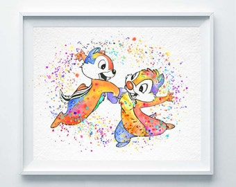 Chip and Dale 2 Art Print The Little Chipmunks Watercolor Rescue Rangers Disney Poster Illustration Children Gift Kid Home Wall Decor A95