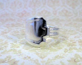Antique Silver Spoon Ring, Size 9.5, Art Deco Manchester Pattern, 1923