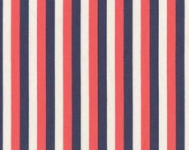 Red, White and Blue Stripe - Dear Stella Fabric - French Lessons - French Flag Stripe - Fabric By the Half Yard
