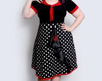 Retro pin up vintage rockabilly polka dot anchor skirt