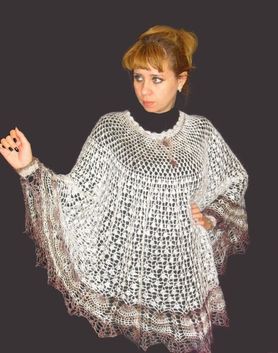 Knitting Pattern For Poncho With Sleeves : Exlusive Hand knitted poncho with sleeves, Crochet poncho ...