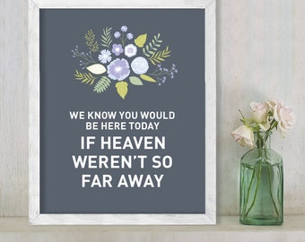 Would Be Here Today // Wedding In Memory Sign // Floral Wedding Sign DIY // Flower, Purple & Gray // Printable Poster ▷  Instant Download