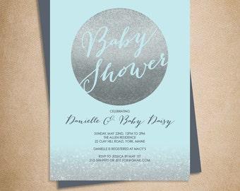 Silver Sparkle Baby Shower Invitation DIY // Metallic Silver Glitter Circle on Baby Blue // Printable PDF ▷ Baby Shower Invite Printable