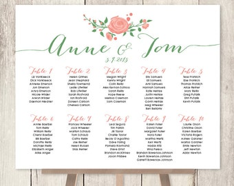 Floral Wedding Seating Chart Sign / Watercolor Rose Flower / Coral Flower Wedding Sign / Custom Sign ▷ Printable File {or} Printed & Shipped
