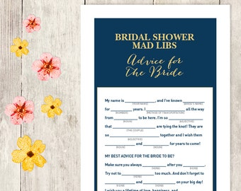 Elegant Bridal Shower Game DIY / Gold Calligraphy, Navy / Mad Libs Printable PDF / Advice for the Bride / Wedding Shower ▷ Instant Download