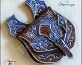 Tooled leather belt pouch