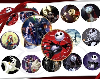 Nightmare Before Christmas 1 inch circles - digital collage sheet - bottle cap images, buttons, tags, scrapbooking, cupcake toppers