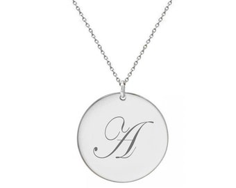Disc Initial Necklace  1/2 in Silver Personalized Script Initial Disc pendant , choose any initial made with 925 silver