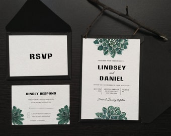 Botanic succulent Wedding Invitations Printable